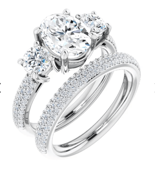 Oval Moissanite 3 Stone Engagement Ring - 2.35tcw - 5.05tcw