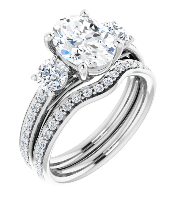 Oval Moissanite 3 Stone Ring - 2.45tcw - 3.75tcw