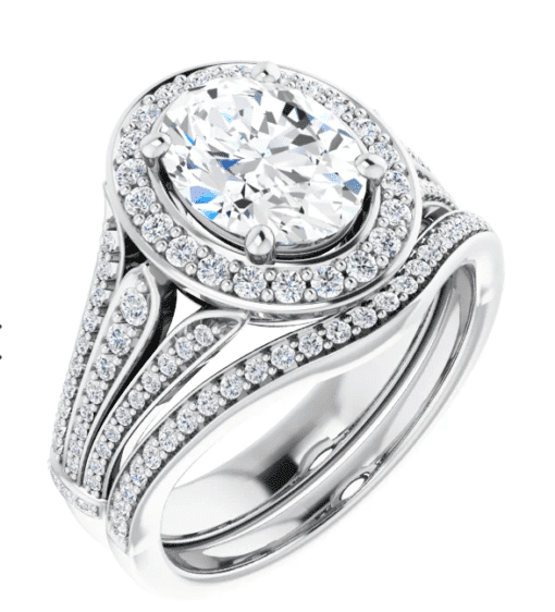 Oval Moissanite Halo Engagement Ring - 2.50tcw - 4.00tcw