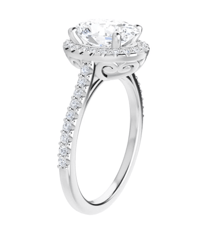 Oval Moissanite Halo Engagement Ring - 2.00tcw - 3.50tcw