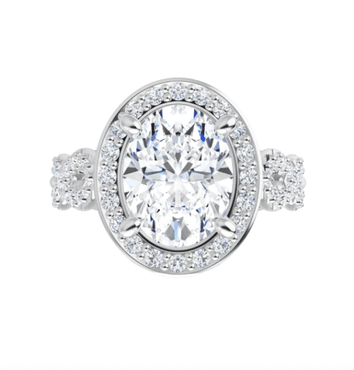Oval Moissanite Halo Flower Pave Engagement Ring - 1.90tcw - 3.00tcw