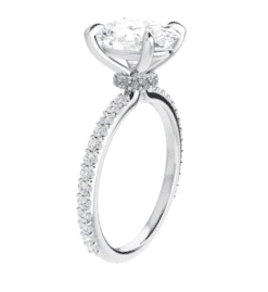 Oval Moissanite Hidden Halo Engagement Ring - 1.90tcw - 4.70tcw