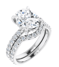 Oval Moissanite Hidden Halo Engagement Ring - 2.50tcw -5.20tcw