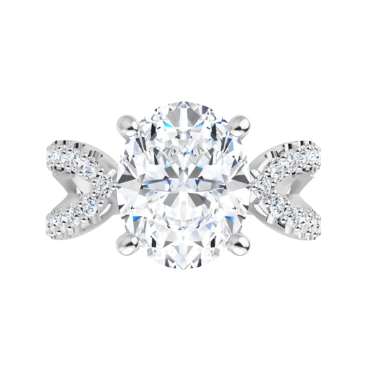 Oval Moissanite  Split Band Engagement Ring - 2.60tcw - 4.70tcw