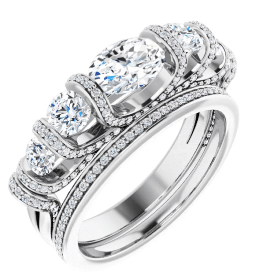 Oval & Round Moissanite Anniversary Wedding Band Ring - 2.00tcw