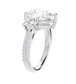 Pear Moissanite 3 Stone Engagement Ring - 2.35tcw - 4.40tcw