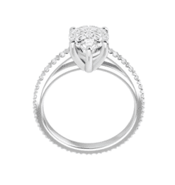 Pear Moissanite Hidden Halo Engagement Ring  - 2.50tcw - 4.60tcw
