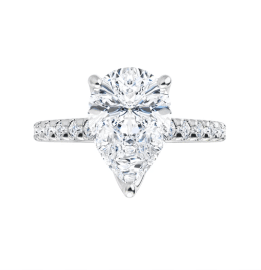 Pear Moissanite Side Stones Engagement Ring - 2.35tcw - 4.40tcw