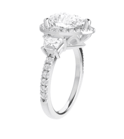 Pear & Trapezoide Moissanite Halo Engagement Ring - 2.50tcw - 4.57tcw