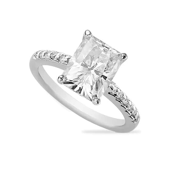 Radiant Moissanite Solitaire Engagement Ring - 2.00tcw - 5.50tcw