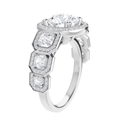 Round And Asscher Moissanite Halo Engagement Ring - 2.70tcw - 3.60tcw