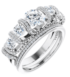 Round Moissanite Anniversary Wedding Band Ring - 2.11tcw