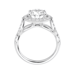 Round Moissanite Halo Flower Engagement Ring - 1.50tcw - 3.20tcw