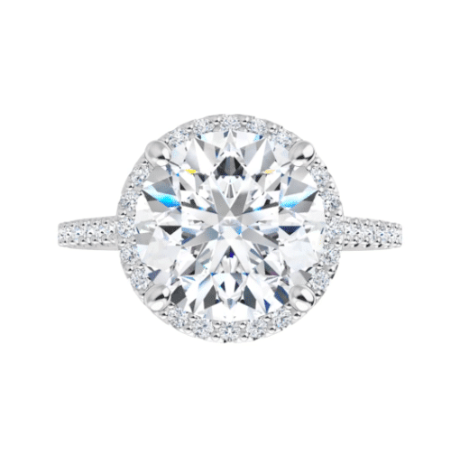 Round Moissanite Halo Side Stones Engagement Ring - 2.40tcw - 4.10tcw
