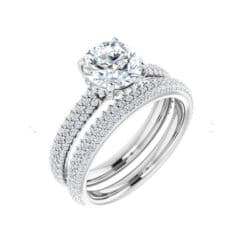 Round Moissanite Hidden Halo Bridal Set Rings - 2.13tcw - 7.26tcw