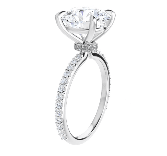 Round Moissanite Hidden Halo Engagement Ring - 1.40tcw - 6.53tcw