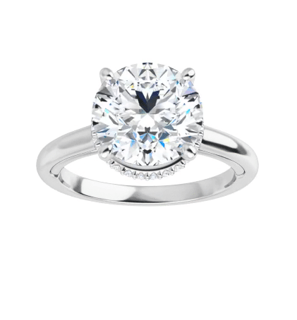 Round Moissanite Hidden Halo Engagement Ring - 1.25tcw - 3.85tcw