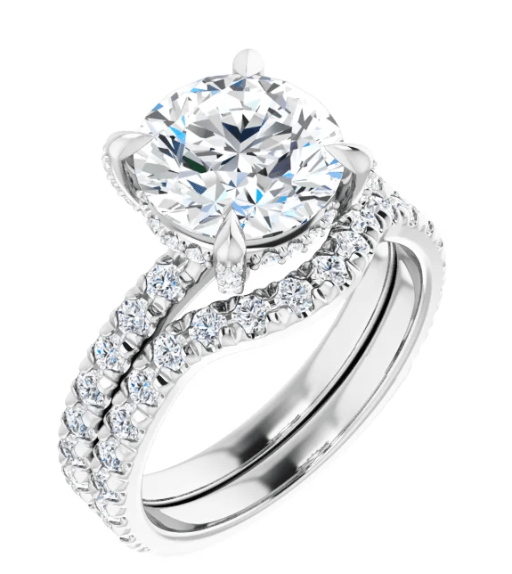 Round Moissanite Hidden Halo Engagement Ring - 2.90tcw - 4.60tcw