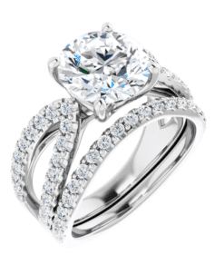 Round Moissanite Split Band Engagement Ring - 1.50tcw - 4.10tcw