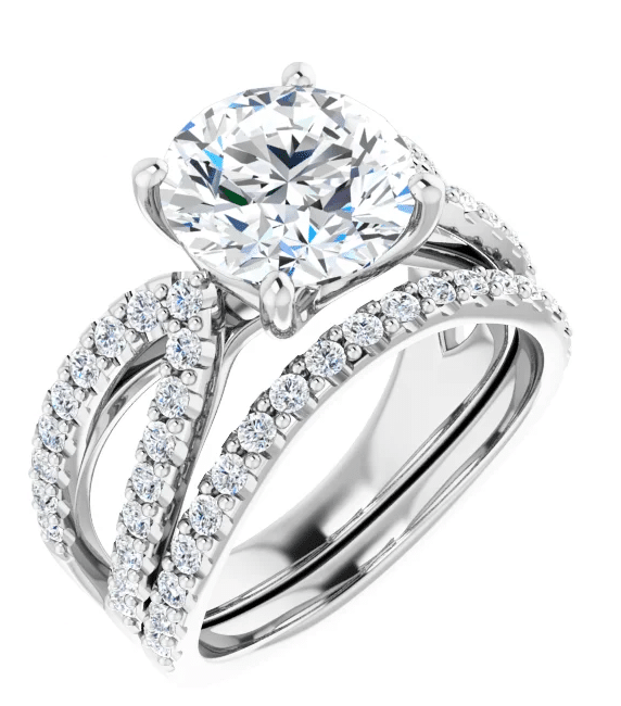 Round Moissanite Split Band Engagement Ring - 1.50tcw - 4.10tcw
