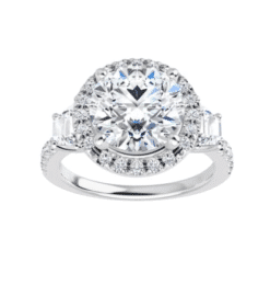Round & Trapezoide Moissanite Halo Engagement Ring - 2.00tcw - 4.60tcw