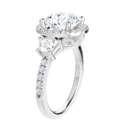 Round & Trapezoide Moissanite Halo Engagement Ring - 2.00tcw - 4.60tcw