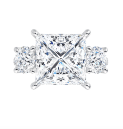 Square Moissanite 3 Stone Engagement Ring - 2.15tcw - 3.95tcw