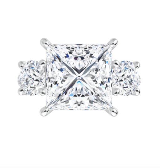 Square Moissanite 3 Stone Engagement Ring - 2.15tcw - 3.95tcw