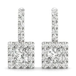 Square Moissanite Halo Drop Earrings  - 1.75tcw