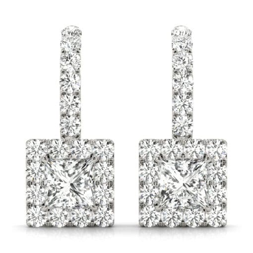 Square Moissanite Halo Drop Earrings  - 1.75tcw