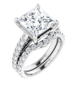 Square Moissanite Halo Engagement Ring - 2.30tcw - 4.10tcw