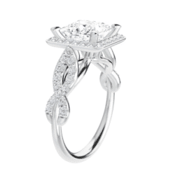 Square Moissanite Halo Flower Pave Engagement Ring - 1.80tcw - 2.60tcw