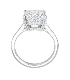 Square Moissanite Hidden Halo Engagement Ring - 1.50tcw - 3.30tcw