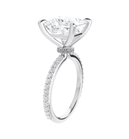 Square Moissanite Hidden Halo Engagement Ring - 1.70tcw - 3.50tcw