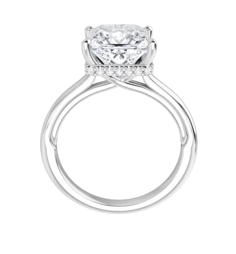 Square Moissanite Hidden Halo Engagement Ring - 1.55tcw - 3.35tcw