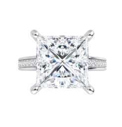 Square Moissanite Side Stone Engagement Ring - 2.35tcw - 3.35tcw