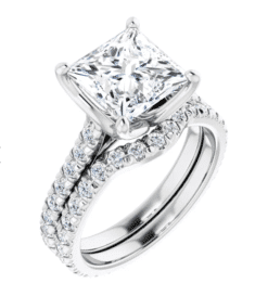 Square Moissanite Side Stones Engagement Ring - 2.15tcw - 3.95tcw