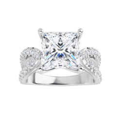 Square Moissanite Split Band Engagement Ring - 2.20tcw - 3.60tcw