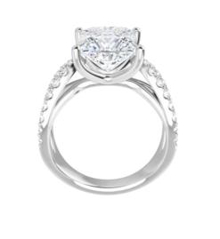 Square Moissanite Split Band Engagement Ring - 2.20tcw - 3.60tcw