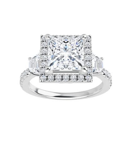 Square & Trapezoide Moissanite  Halo Engagement Ring - 2.30tcw - 4.10tcw
