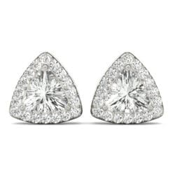Trillion Moissanite Halo Stud Earrings - 0.90tcw