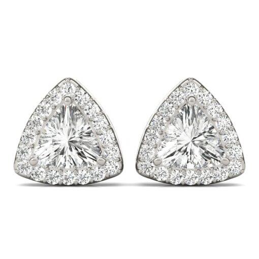 Trillion Moissanite Halo Stud Earrings - 0.90tcw