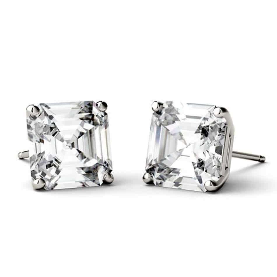 Asscher Moissanite Stud Earrings - 1.20tcw - 6.28tcw