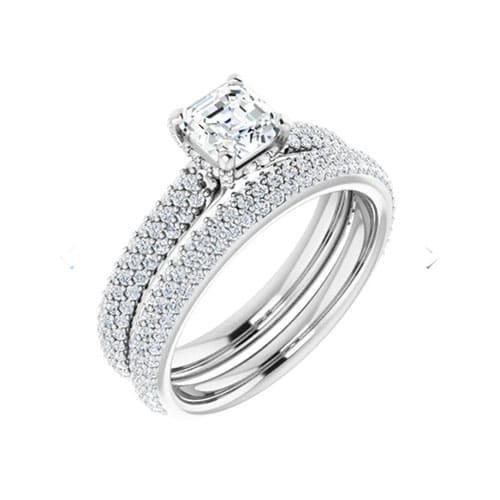 Asscher Moissanite Hidden Halo Bridal Set Rings - 3.29tcw - 3.96tcw