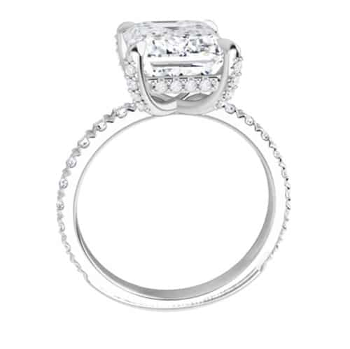 Emerald Moissanite Hidden Halo Engagement Ring - 2.52tcw - 7.27tcw