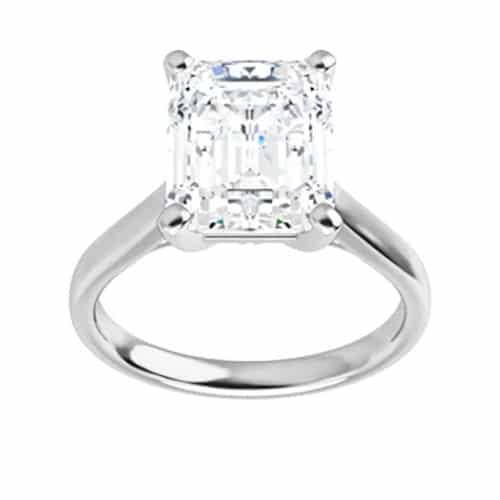 Emerald Moissanite Unique Solitaire Ring - 1.75ct - 4.93ct
