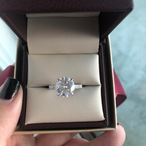 4.00tcw Round Moissanite Forever One Engagement Ring