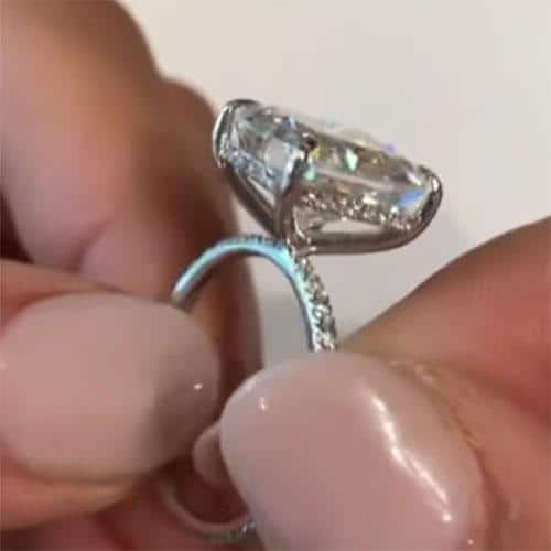 5.60tcw Radiant Moissanite Forever One Hidden Halo Ring