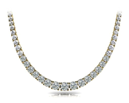 Round Moissanite 4 Prongs Degrade Tennis Necklace - 11.86tcw