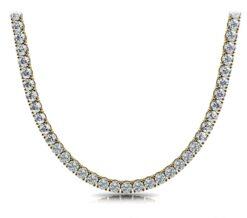 Round Moissanite 4 Prongs Tennis Necklace - (14.04tcw - 39.50tcw)